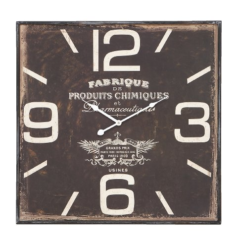 Deco 79 Metal Wall Clock, Ultra Design with Dark and Rustic Finish (Forest Square Clock Black)