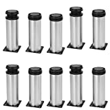 uxcell 50mm x 150mm Metal Adjustable Table Cabinet Feet Leg Round Stand 10PCS