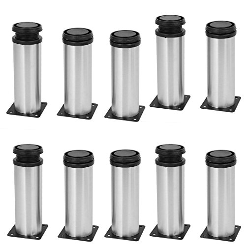 uxcell 50mm x 150mm Metal Adjustable Table Cabinet Feet Leg Round Stand 10PCS by uxcell (Image #3)