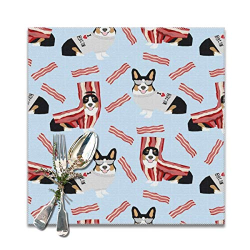tri colored corgi corgis love bacon design cute dog costume halloween Washable Placemats for Dining Table Double Fabric Printing Cotton Place Mats for Kitchen Table Set of 6 Table Mat 12
