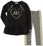 Juicy Couture Girls' Little Tunic Legging Set, Black Pool/Yarn Dye Stripe, 5