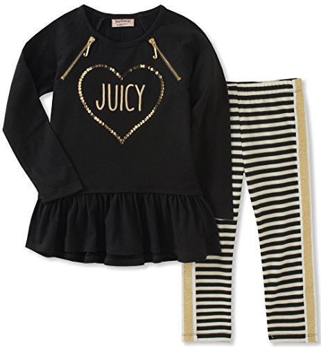 Juicy Couture Girls' Little Tunic Legging Set, Black Pool/Yarn Dye Stripe, 5 by Juicy Couture