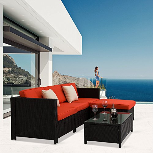 Kinbor 5 PCs Garden Furniture Outdoor PE Rattan Wicker Sofa Sectional Furniture Cushioned Deck Couch Set (Furniture Interest Garden)