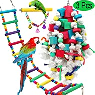 PETUOL Large Bird Swing Toys, 3 Packs Big Parrots Chewing Natural Wood with Bells Toys for Macaws Cokatoos, Alexandrine Parakeet, African Grey Parrot and a Variety of Large Amazon Finch