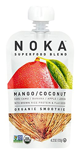 NOKA Superfood Blend, Organic Smoothie, Mango Coconut, 4.2 Ounces, (Pack of 6)
