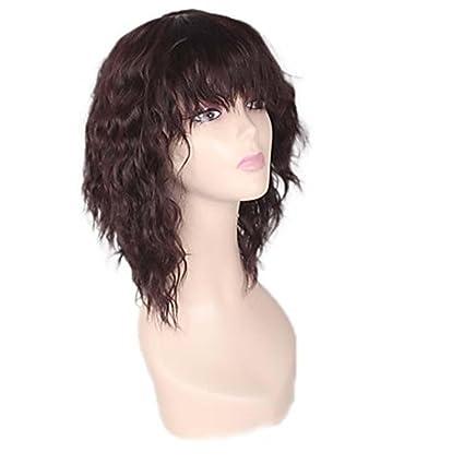 MZP Mujer Pelucas sintéticas Sin Tapa Medio Marino Afro Marrón Para mujeres de color Entradas Naturales