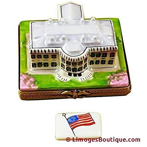 White House W/Removable Flag - French Limoges Boxes - Porcelain Figurines Collectible Gifts