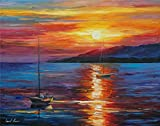 100% Hand Painted Oil Paintings Modern Abstract Art Oil Painting Sunrise on the Sea Home Wall Decor (20X28 Inch, Wall Arts 10)