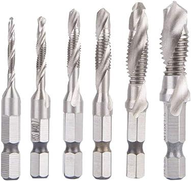 oenbopo Spiral Tap Drill Bit Hex Shank Combination Drill Bits Spiral Hex Self Tapping Drilling Screws 6Pcs