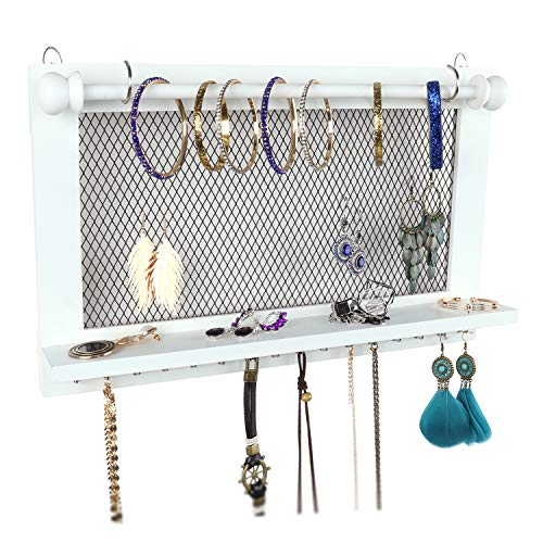 Caroeas Jewelry Organizer, Jewelry Holder Wall Mounted with Removable Bracelet Rod Wooden Jewelry Organizer with Silver Hooks for Necklaces/Earrings/Keys/Accessories (White) (Wall Mail Organizers)