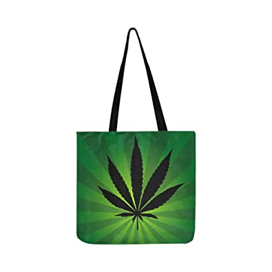 Image Unavailable. Image not available for. Color  Cannabis Leaf Wit Beam  Green Canvas Tote Handbag Shoulder Bag Crossbody Bags Purses ... 65e2b0d0c227a