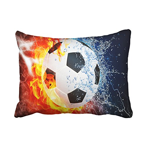 (Tarolo Decorative Ice and fire can Football Sports Soccer Center Forward Halfback Zippered Pillow Cases Covers Pillowcase Size 20x26 inches(51x66cm) Two Sided)