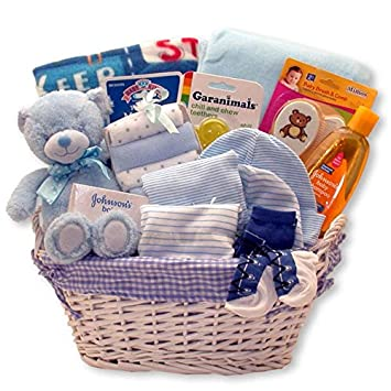 Amazon Com Just For The New Baby Boy New Baby Boy Gift Basket Perfect For Baby Shower And The New Baby Arrival Baby