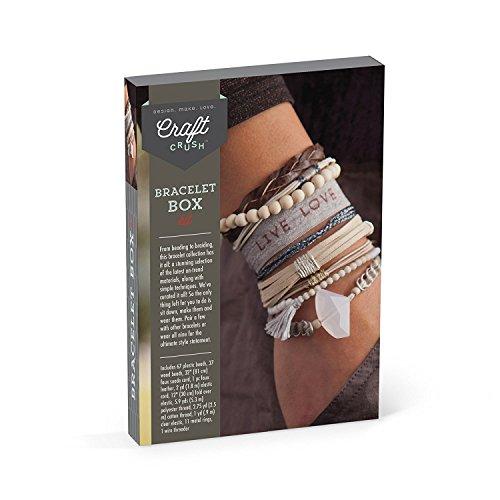 Craft Crush AC1715 Box Craft Kit Makes 9 DIY Bracelets – Neutral/Earth Tones
