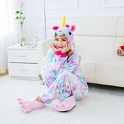 MH-RITA Caricatura de franela Unicornio de invierno pijamas para mujeres Rosa Pegasus Pijama Animal