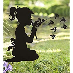 Wind & Weather Dandelion Girl Silhouette Metal Garden Stake Whimsical Decorative Sculpture Outdoor Yard Art Ornament Ideal for Lawn Flower Beds Planters 28 W x 30.25 H x 0.5 D