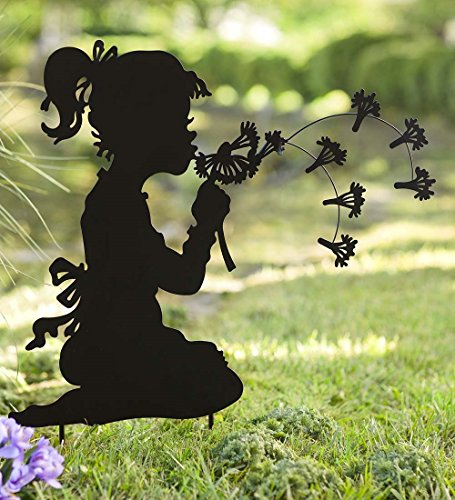 Garden Ornaments And Statues (Dandelion Girl Silhouette Metal Garden Stake Whimsical Decorative Sculpture Outdoor Yard Art Ornament Ideal for Lawn Flower Beds Planters 28 W x 30.25 H x 0.5 D)