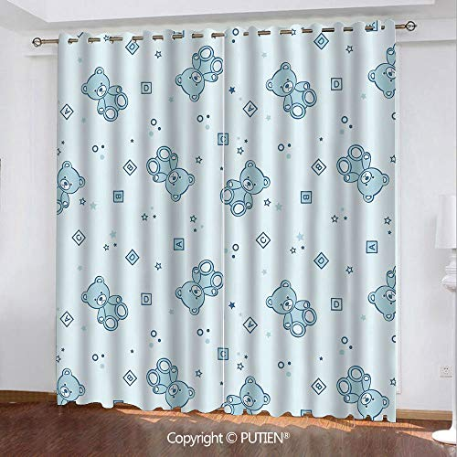 Satin Grommet Window Curtains Drapes [ Nursery,Teddy Bears and Toys with Letters on Children Imagery Baby Blue Background,Baby Blue Aqua ] Window Curtain for Living Room Bedroom Dorm Room Classroom Ki