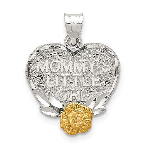 Mia Diamonds 925 Sterling Silver with vermeil Mommys Little Girl Heart Charm (19mm x 14mm) - Vermeil Platinum Diamond Pendant