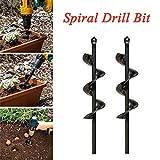 Planter Garden Standard Spiral Bit Auger Hole Digger Drill Bit Attachment 46370mm Solid Carbide (2PCS)