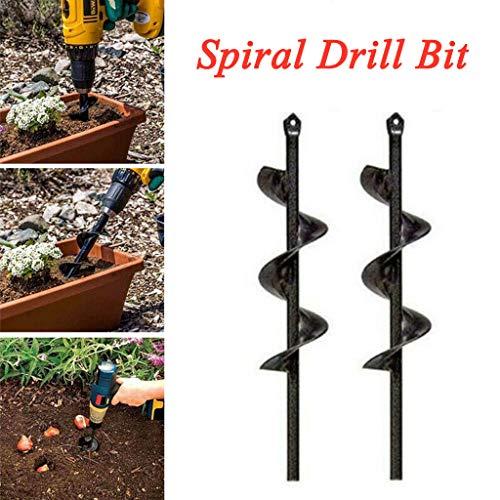 Digboom 2Pcs Planter Garden Auger Hole Digger Drill Bit Attachment for Tulips, Iris, Bulbs, Bedding Plants, Seedlings 46 x 370mm