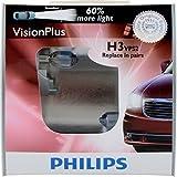 Philips H3 VisionPlus Headlight/Fog Light Bulb, Pack of 2