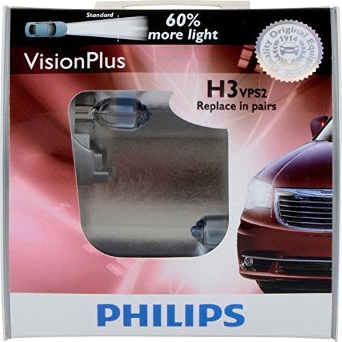 Philips H3 VisionPlus Headlight/Fog Light Bulb, Pack of 2