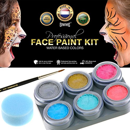 Make A Mermaid Costume (Grimas Professional Face Paint Kit with 6 Water-Based Activated Colors, 1 Sponge & 1 Premier Brush - Non-Toxic Metallic Face & Body Painting Palette Set from Netherlands - Best Quality & Safe for Kids)