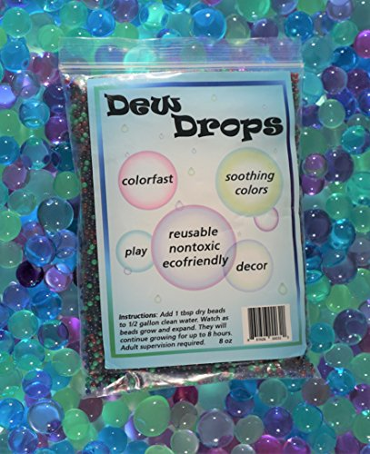 SENSORY4U Original Dew Drops Water Beads - Soothing Colors - A Calming Sensory Experience - 5 Colors Red Purple Dark Green Light Green and Blue (Aqua Water Beads)