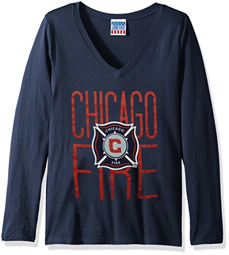 Junk Food MLS Chicago Fire Women's Long Sleeve Tee, Medium, TRNY