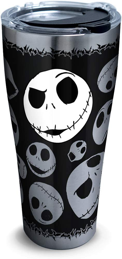 Tervis 1297809 Disney - Nightmare Before Christmas 25th Anniversary Stainless Steel Insulated Tumbler with Clear and Black Hammer Lid, 30oz, Silver