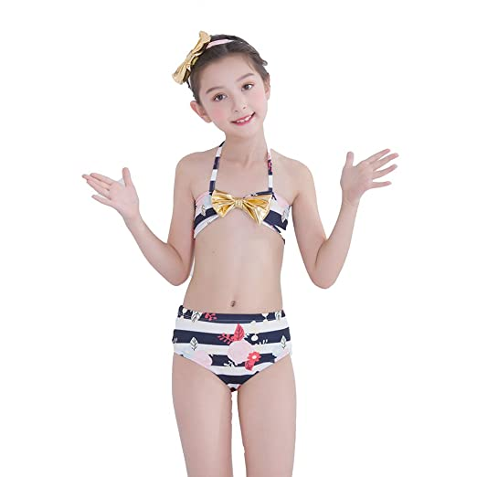 f14cd7da41 Image Unavailable. Image not available for. Color: Cute Toddler Baby Girls  Striped Bikini Swimsuits, Two Piece Floral Tankini ...