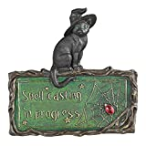 Design Toscano Black Cat Sign - Witch's Cat Spell-Casting Wall Sculpture - Halloween Decorations