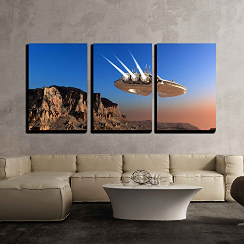 """Wall26 - 3 Piece Canvas Wall Art - Spacecraft over the Mountainous Terrain of the Planet. - Modern Home Decor Stretched and Framed Ready to Hang - 24""""x36""""x3 Panels"""