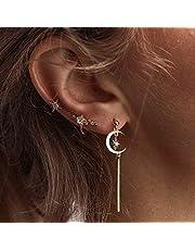 Jovono Fashion oorbellen met strass maan en ster oorstekers set voor vrouwen en meisjes (goud)