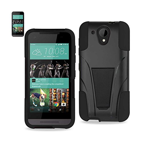 Reiko Silicon Case/Protector Cover with New Type Kickstand for HTC Desire 520 - Retail Packaging - Black