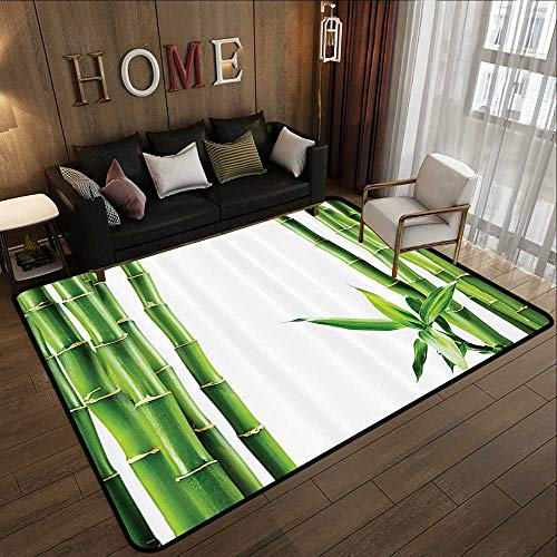 Truck mats,Asian,Branches of Bamboo Board Stalk Tropics Plants Greenery Feng Shui Natural Lush Image,Green White 63