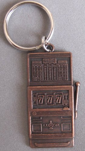 Luxor Casino Las Vegas Antique Copper Tone Slot Machine Keychain Key Chain w Silver Tone Key Ring Keyring