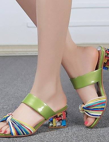 LFNLYX Zapatos de mujer-Tacón Robusto-Tacones-Sandalias-Vestido / Casual / Fiesta y Noche-Cuero-Negro / Blanco White