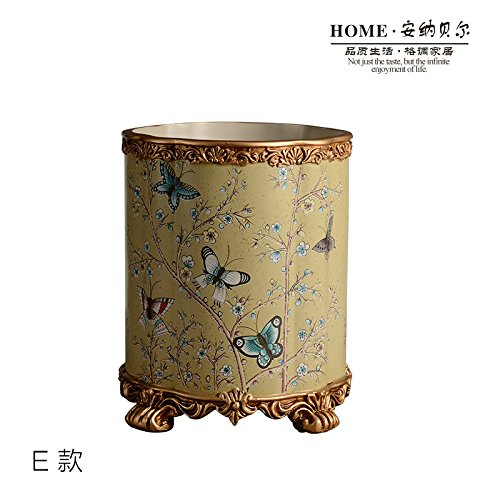 Y-Hui The Large Living Room Bedroom Trash Can Home Decor Coffee Waste Basket Resin No Cover E) Resin Painted Trash Can