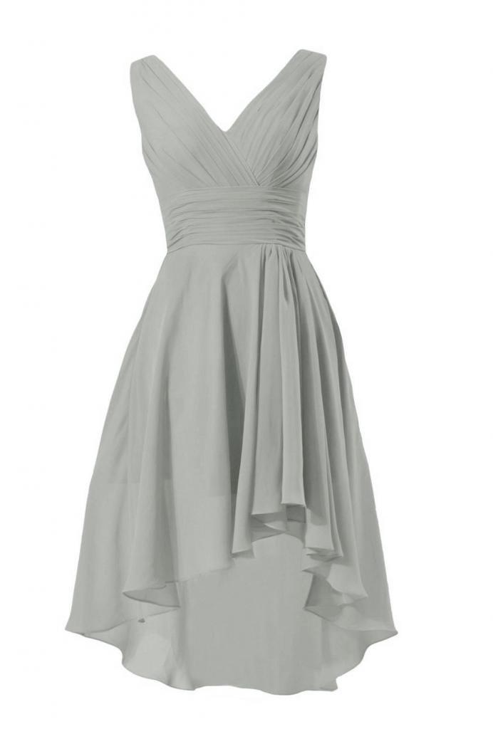 DaisyFormals Short High-Low Formal Dress V-Neck Chiffon Bridesmaid Dress(BM2422)- Gray