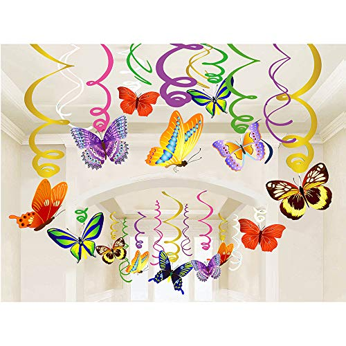 - JBLCC Butterfly Party Hanging Swirl Decorations - Butterfly Party Supplies Birthday/Fairy Party Supplies Birthday/Fairy Party Decorations/Butterfly Room Decor