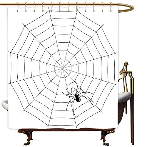 Large Shower Curtain Spider Web Toxic Poisonous Insect Thread Crawly Malicious Bug Halloween Character Design Shower Hooks are Included W108x72L Black White ()