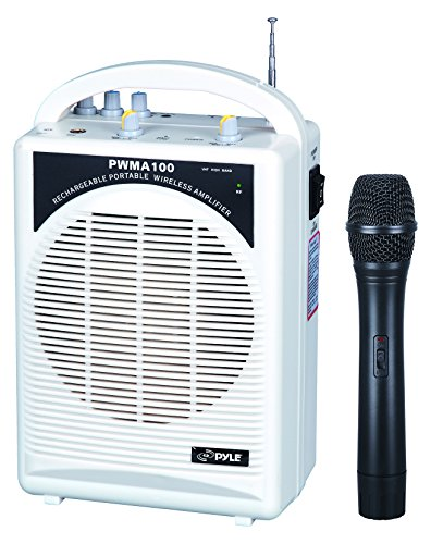 - PylePro Latest Portable Mini PA Speaker System - Built in Rechargeable Battery Wireless Handheld Microphone and Aux Input Jack w/ Audio Control Center for Karaoke and Crowd Control Amplifier