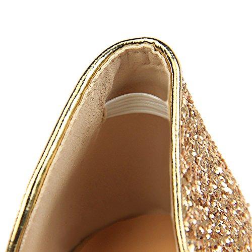 Alto Femenina Xiaoqi Bronce Nightclub Zapatos Nueva Y Americana De Hueco Sexy Superficial Exquisita Moda Sequined Europea Nightclubs La Lentejuelas Color Tacón Palabra Con wOzwfSq