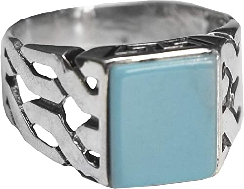 Turquoise Created Stone Free Express Shipping Falcon Jewelry 925 Sterling Silver Men Ring