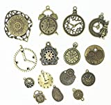 20 Pc Antiqued Charm Lot Mix - Clock Faces, DIY Crafts, Gears, Jewelry Making, Steampunk Pendants