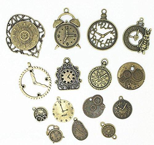 20 Pc Antiqued Charm Lot Mix - Clock Faces, DIY