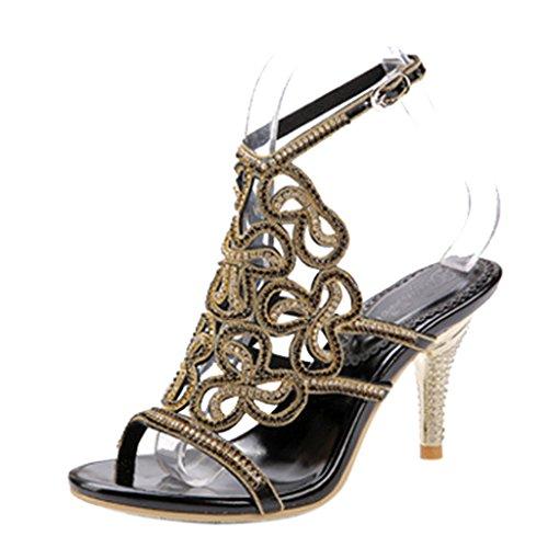 Slingback Schwarz Sandalen Heels Frauen Pu Partykleid Kristall Stiletto Sparkle Ausschnitte Knöchelriemen High vxRfRXFqw