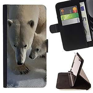 Dragon Case- Caja de la carpeta del caso en folio de cuero del tir¨®n de la cubierta protectora Shell FOR Sony Xperia Z2 L50t L50W L50U- Polar Bear